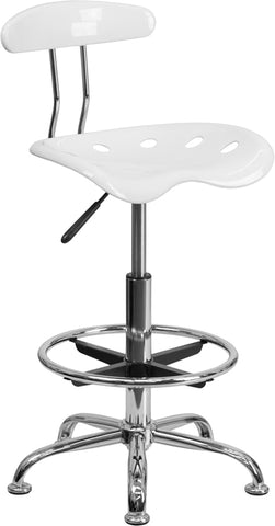 White Tractor Stool