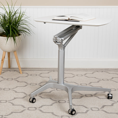 White Mobile Sit To Stand Desk