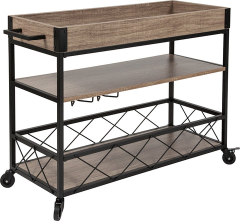 Oak Wood Kitchen Bar Cart