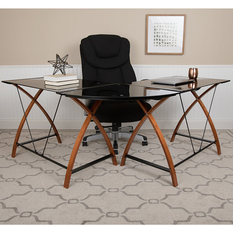 Black Glass L-shape Desk