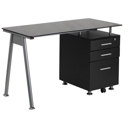 Black Glass 3 Drawer Desk