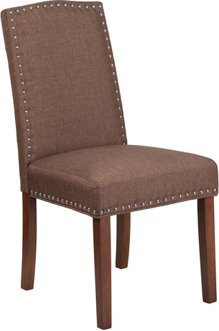 Brown Fabric Parsons Chair