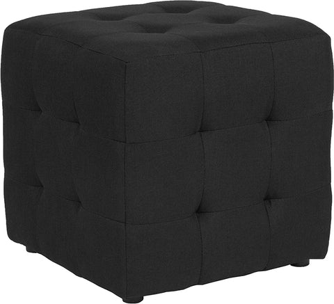 Black Fabric Tufted Pouf