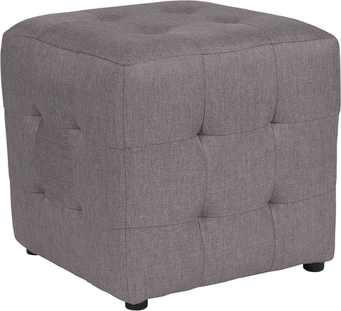 Lt Gray Fabric Tufted Pouf