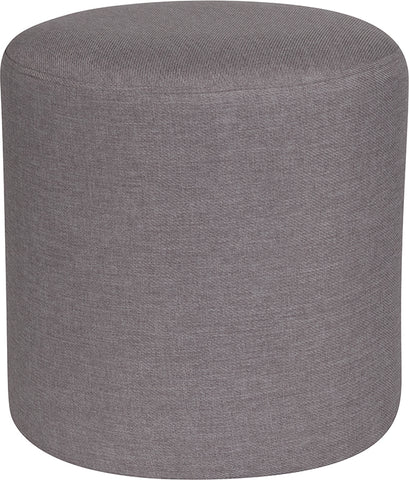 Lt Gray Fabric Round Pouf