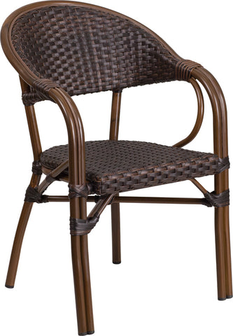 Dark Brown Rattan Bamboo Chair