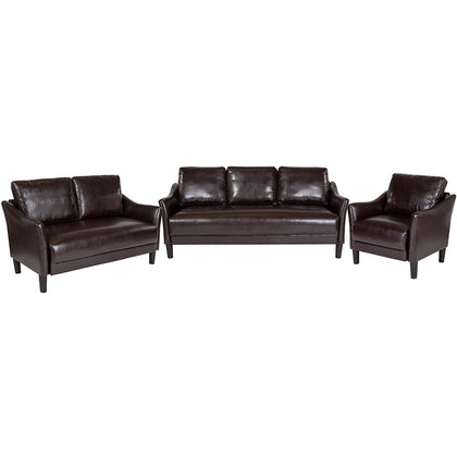Brown Leather Living Set