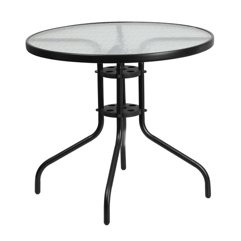 31.5rd Glass Black Patio Table