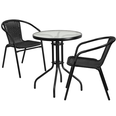 23.75rd Black Patio Table Set