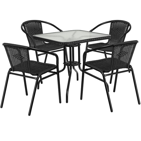 28sq Black Table Set W-rattan