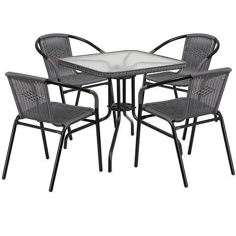 28sq Gray Table Set W-rattan