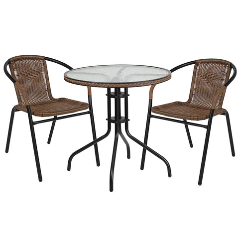 28rd Brown Table Set W-rattan