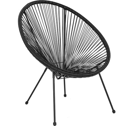 Black Bungee Oval Lounge Chair