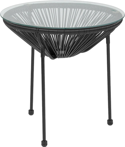 Black Bungee Glass Table