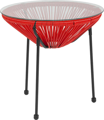 Red Bungee Glass Table