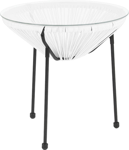 White Bungee Glass Table