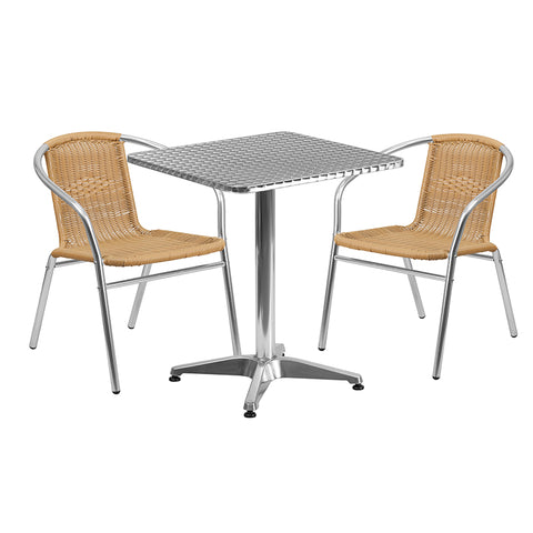23.5sq Aluminum Table-2 Chairs