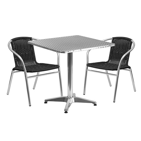 27.5sq Aluminum Table-2 Chairs
