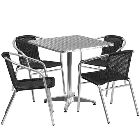 27.5sq Aluminum Table-4 Chairs