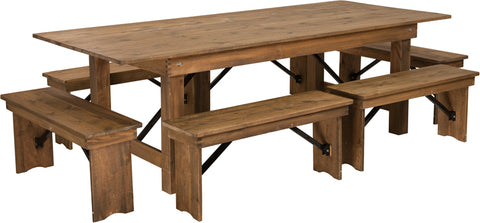 "8'x40"" Farm Table-6 Bench Set"