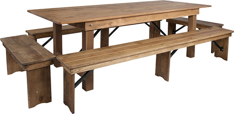 "8'x40"" Farm Table-4 Bench Set"