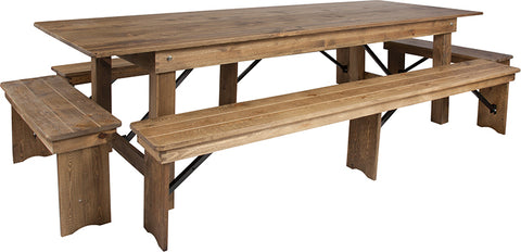 "9'x40"" Farm Table-4 Bench Set"