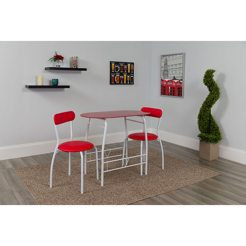 3pc Red Glass Bistro