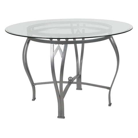 45rd Glass Table-silver Frame