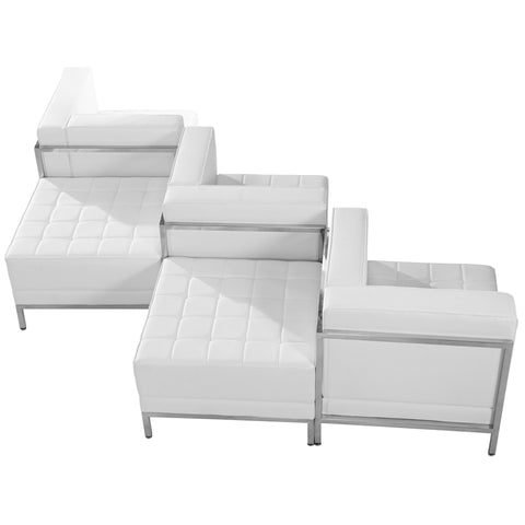White Leather Lounge Set, 5 Pc