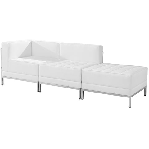 White Leather Lounge Set, 3 Pc