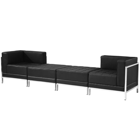 Black Leather Lounge Set, 4 Pc