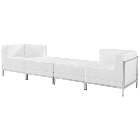 White Leather Lounge Set, 4 Pc