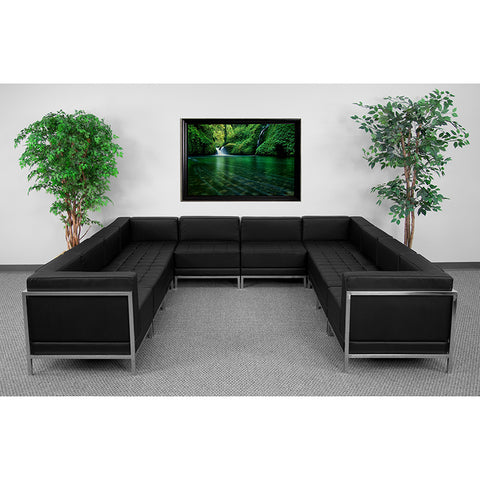 Black Leather Sectional, 10 Pc