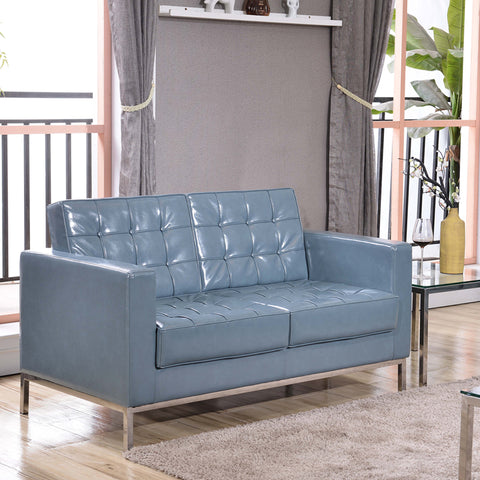 Gray Leather Loveseat