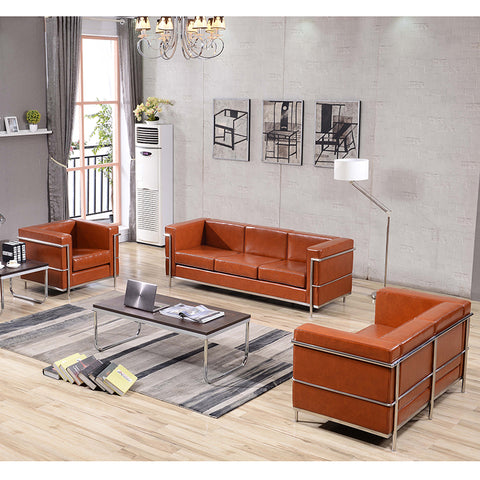 Cognac Leather Reception Set