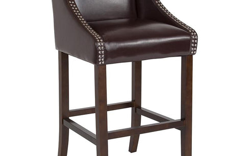 "30"" Brown Leather-wood Stool"