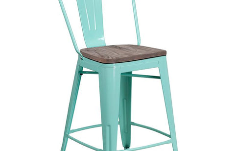 "24"" Mint Metal Counter Stool"