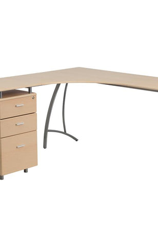 Beech L-shape Corner Desk