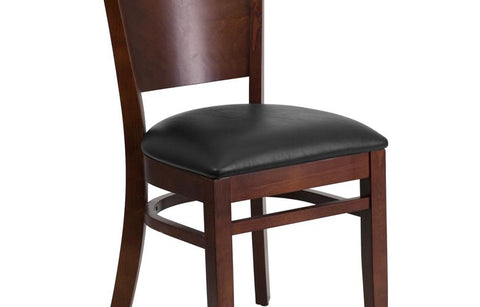 Walnut Wood Chair-blk Vinyl