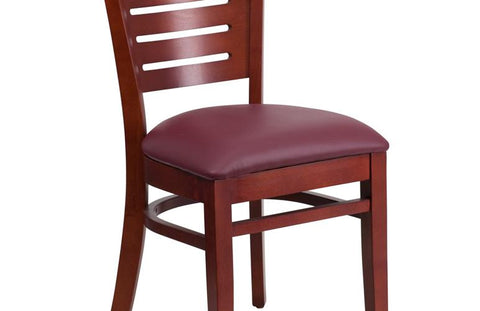 Mahogany Wood Chair-burg Vinyl