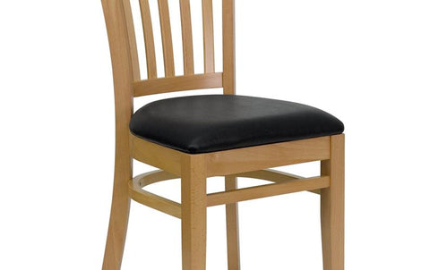 Natural Wood Chair-blk Vinyl