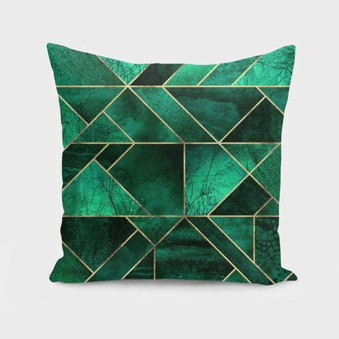 Emerald Green Abstract Nature Pillow