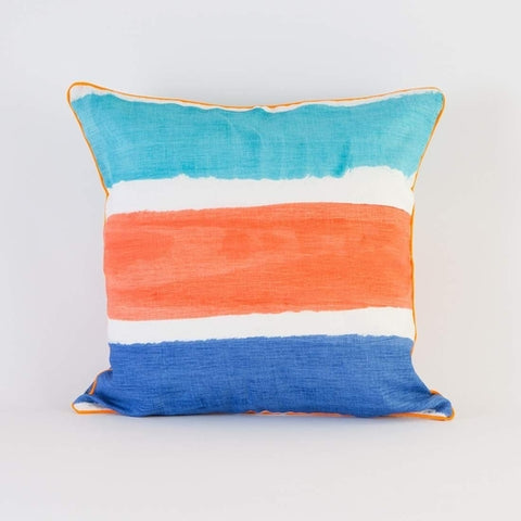 Coral Blue Stripe Pillow