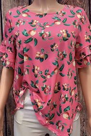 Pink/Peach Printed Blouse - BQ7180