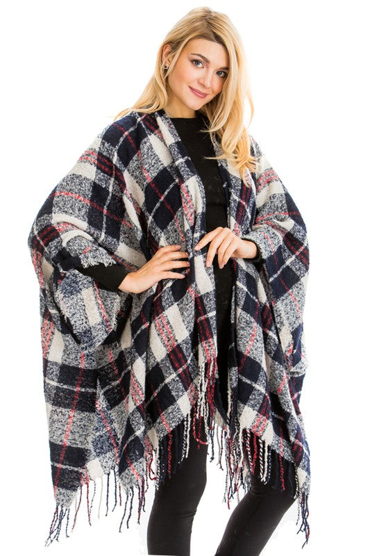 Plaid Ruana Poncho in Navy Blue with Beige
