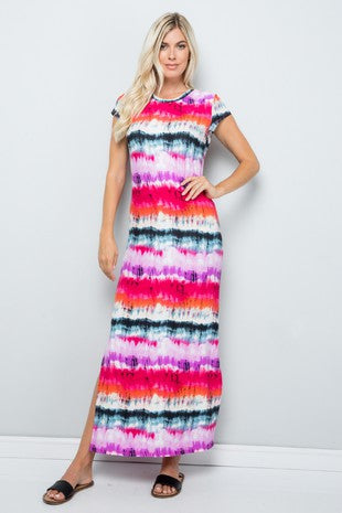 Tie Dye Stripe Short Sleeve Maxi Dress