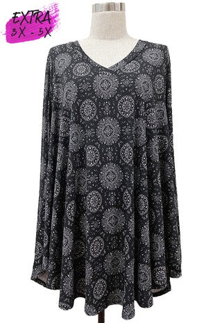 V-Neck Black Medallion Print Long Sleeve Tunic 3X-5X only