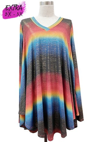 V-Neck Shimmer Stripe Long Sleeve Tunic 3X-5X only