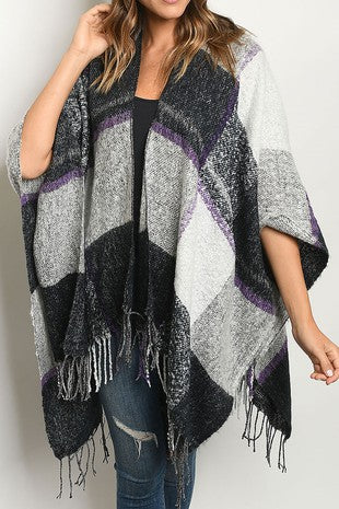 Purple Plaid Open Poncho