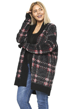 Plus Size Plaid Sweater Cardigan